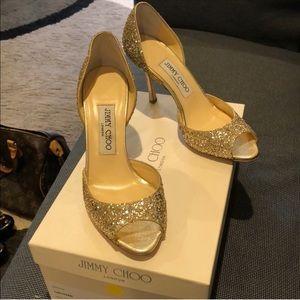 Jimmy Choo Champagne Glitter heels
